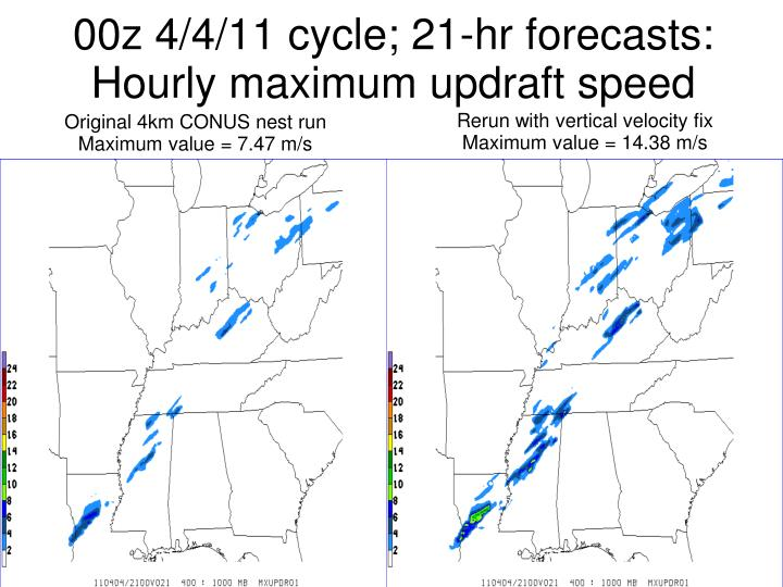 00z 4/4/11 cycle; 21-hr forecasts: Hourly maximum updraft speed