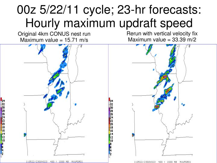00z 5/22/11 cycle; 23-hr forecasts: Hourly maximum updraft speed