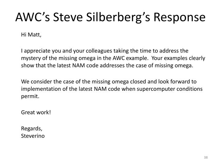 AWC's Steve Silberberg's Response