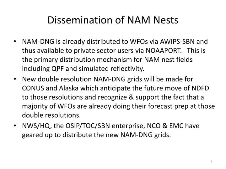 Dissemination of NAM Nests
