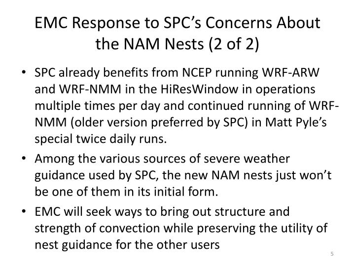 EMC Response to SPC's Concerns About  the NAM Nests (2 of 2)