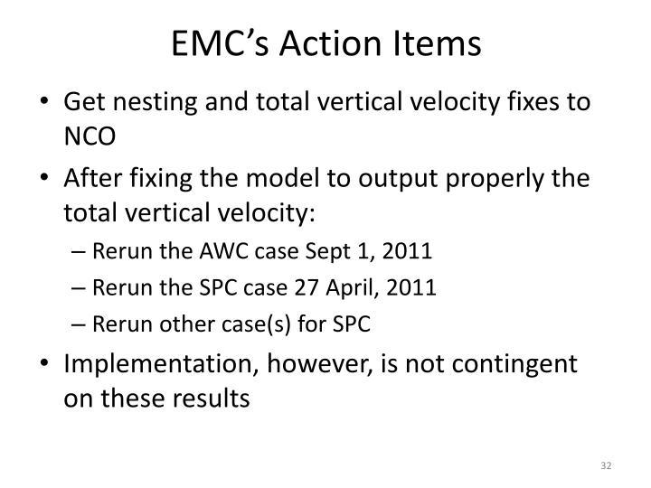 EMC's Action Items