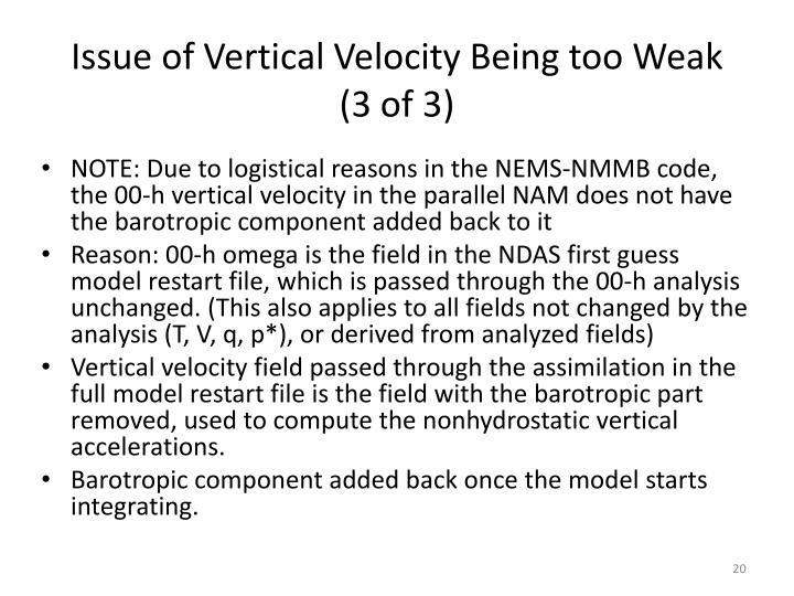 Issue of Vertical Velocity Being too Weak
