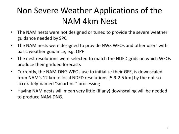 Non Severe Weather Applications of the NAM