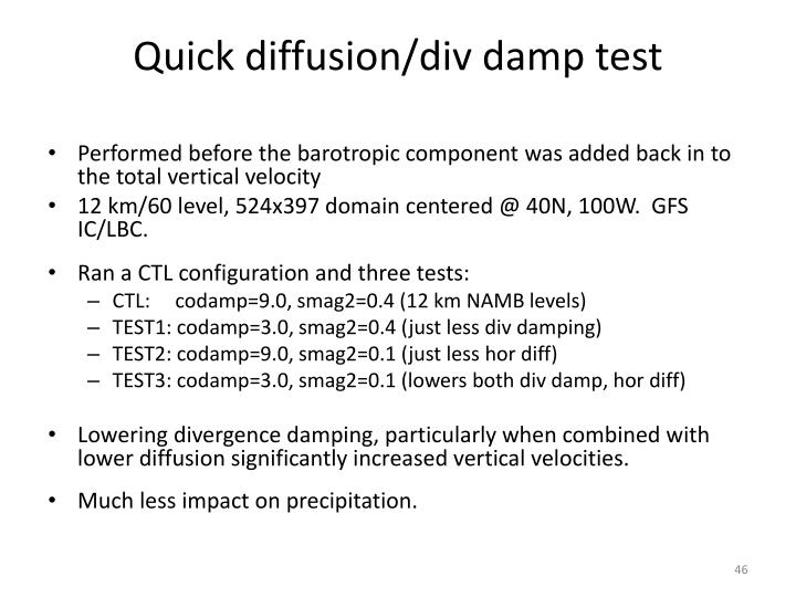 Quick diffusion/div damp test