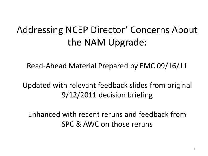 Addressing NCEP Director' Concerns About the NAM Upgrade: