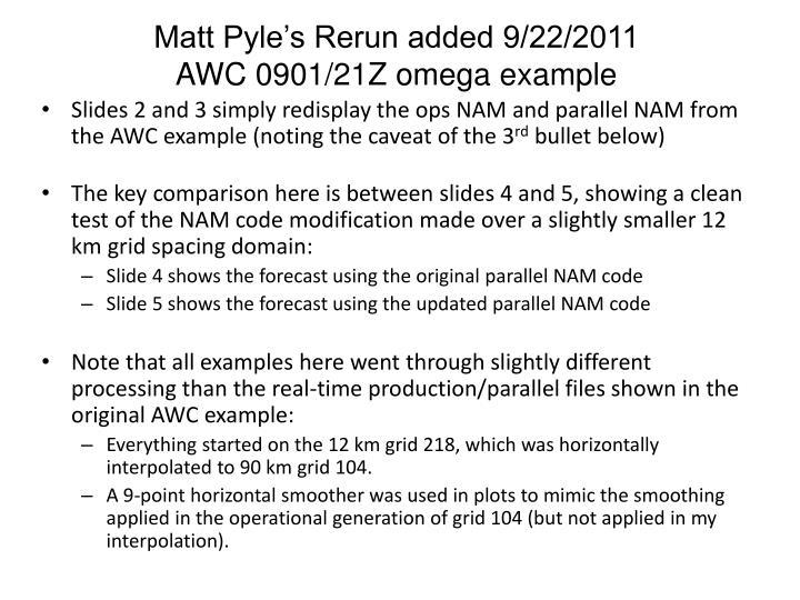 Matt Pyle's Rerun added 9/22/2011