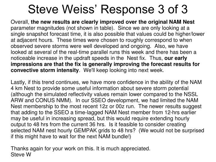 Steve Weiss' Response 3 of 3
