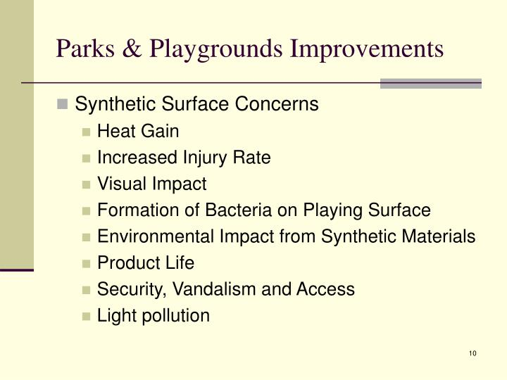 Parks & Playgrounds Improvements