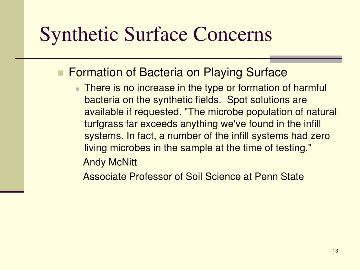 Synthetic Surface Concerns