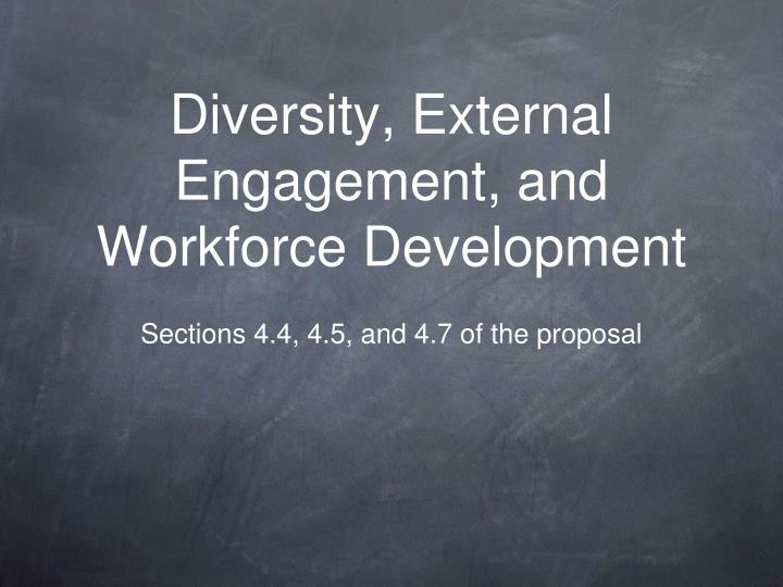 Diversity external engagement and workforce development