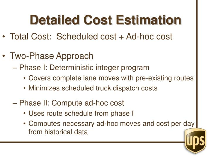 Detailed Cost Estimation