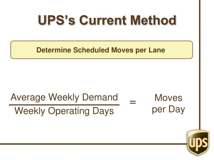 UPS's Current Method