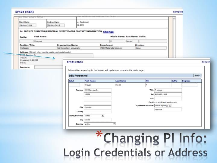 Changing PI Info: