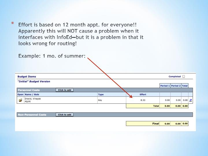 Effort is based on 12 month appt. for everyone!!  Apparently this will NOT cause a problem when it interfaces with