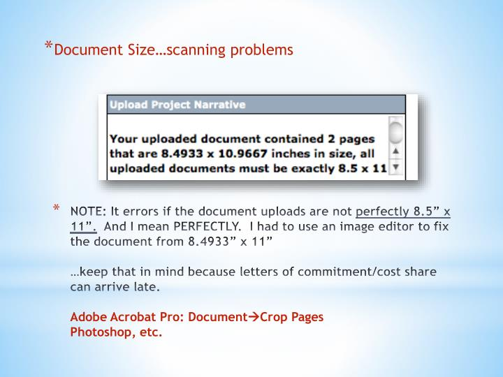 Document Size…scanning problems