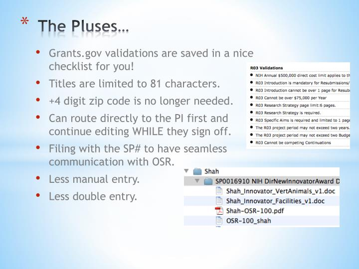 The Pluses…