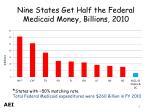 nine states get half the federal medicaid money billions 2010