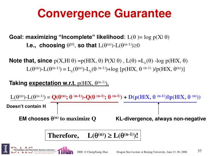Convergence Guarantee