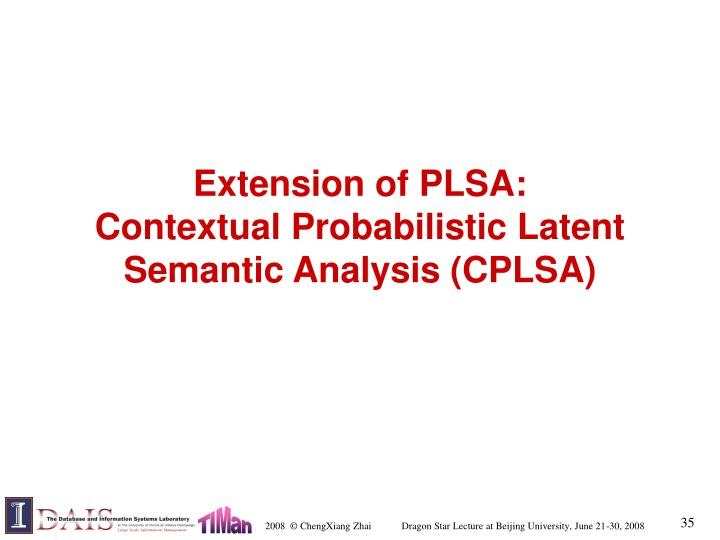 Extension of PLSA: