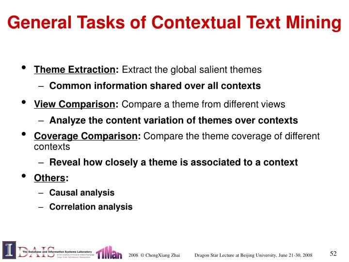 General Tasks of Contextual Text Mining