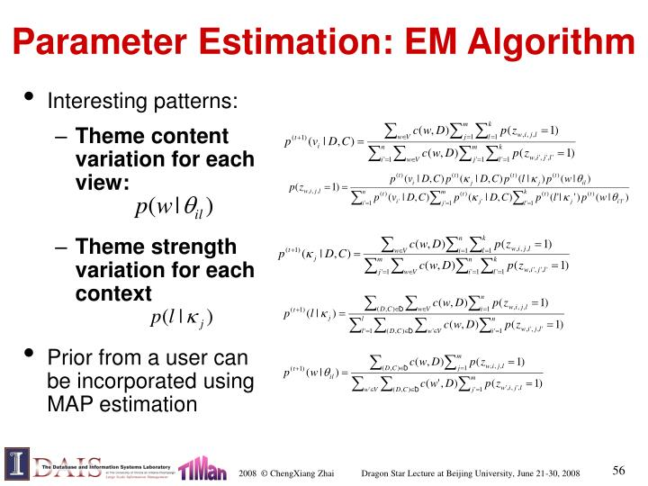 Parameter Estimation: EM Algorithm