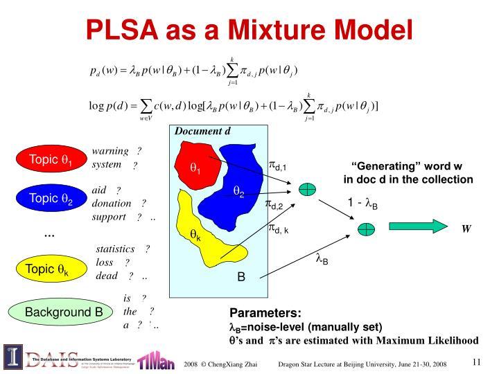 PLSA as a Mixture Model