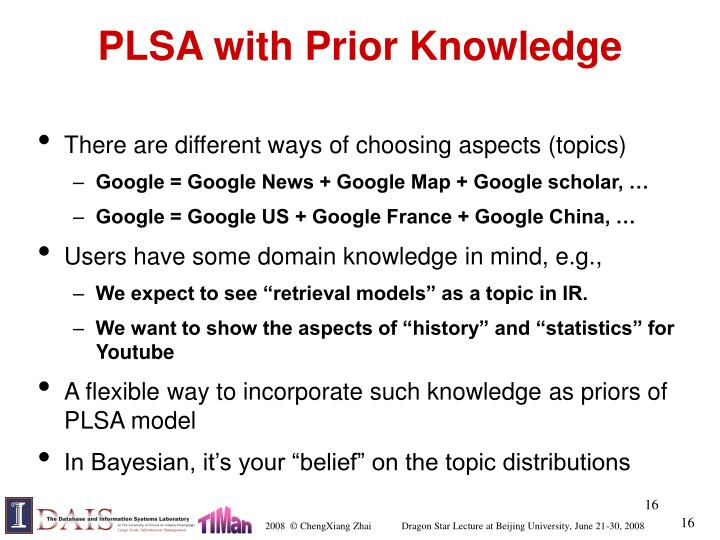 PLSA with Prior Knowledge