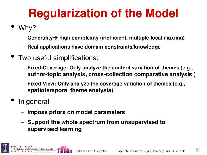 Regularization of the Model
