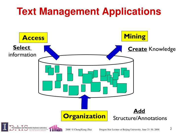 Text management applications