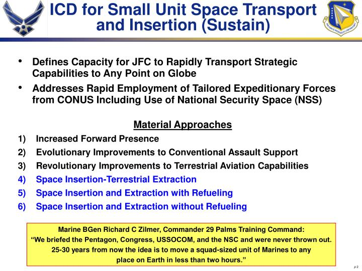 ICD for Small Unit Space Transport and Insertion (Sustain)