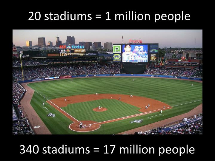 20 stadiums = 1 million people