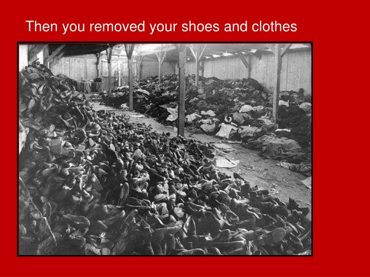 Then you removed your shoes and clothes