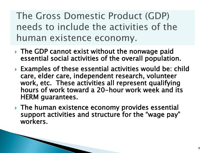The Gross Domestic Product (GDP) needs to include the activities of the human existence economy.