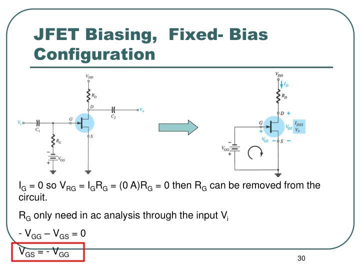 JFET Biasing,  Fixed- Bias Configuration