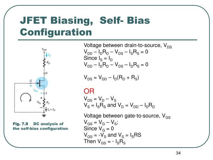 JFET Biasing,  Self- Bias Configuration