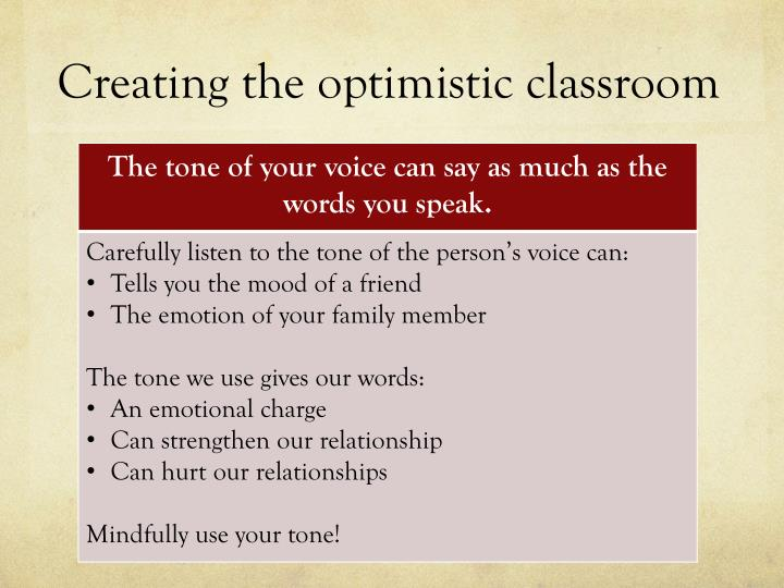 Creating the optimistic classroom