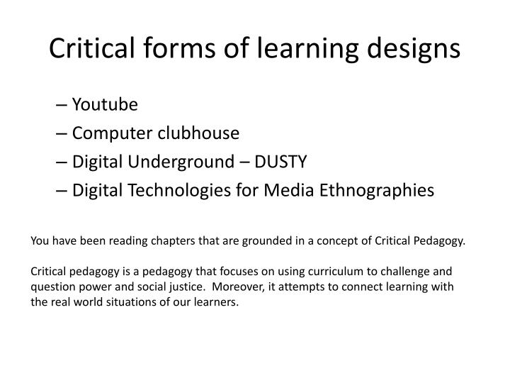 Critical forms of learning