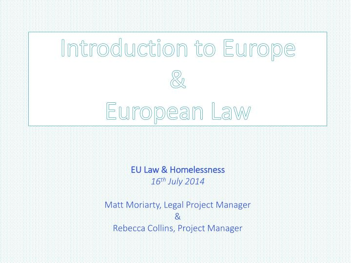 Introduction to europe european law