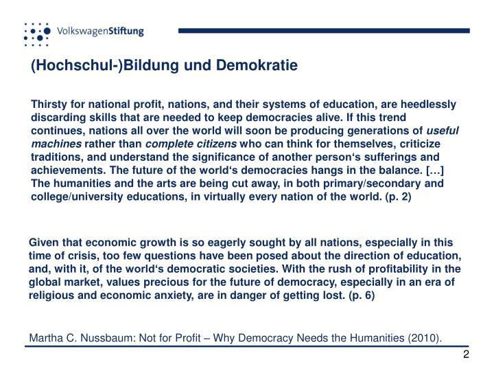 (Hochschul-)Bildung und Demokratie