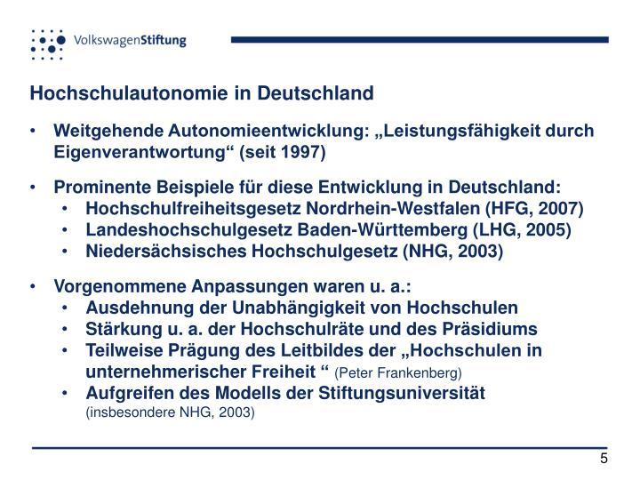 Hochschulautonomie in Deutschland