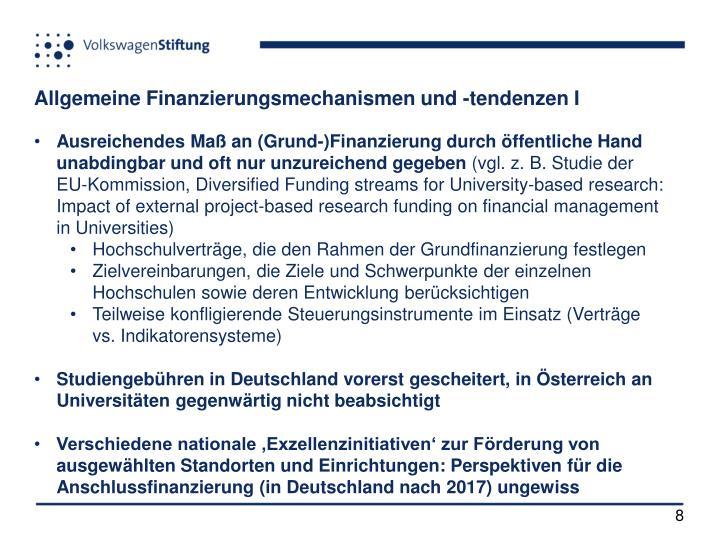 Allgemeine Finanzierungsmechanismen und -tendenzen I