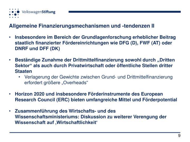 Allgemeine Finanzierungsmechanismen und -tendenzen II