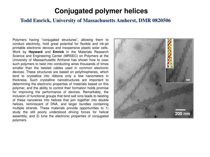 Conjugated polymer helices