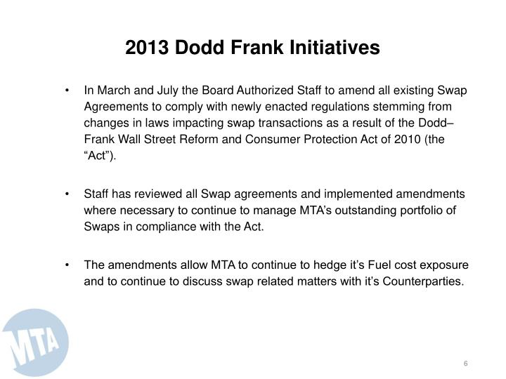 2013 Dodd Frank Initiatives