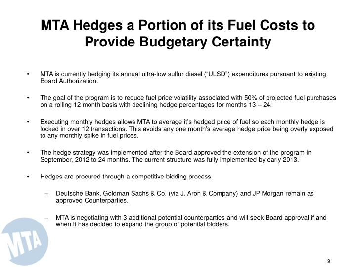 MTA Hedges a Portion of its Fuel Costs to Provide Budgetary Certainty