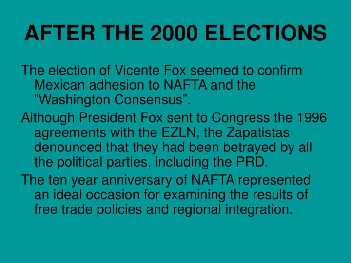 AFTER THE 2000 ELECTIONS