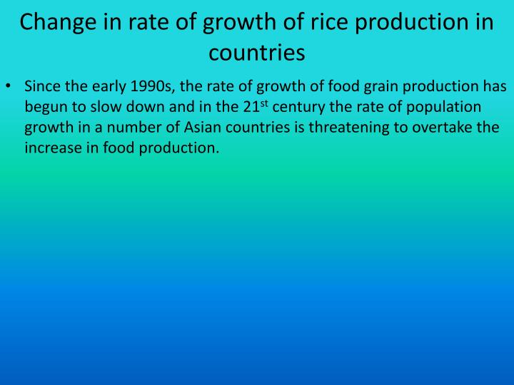 Change in rate of growth of rice production in countries
