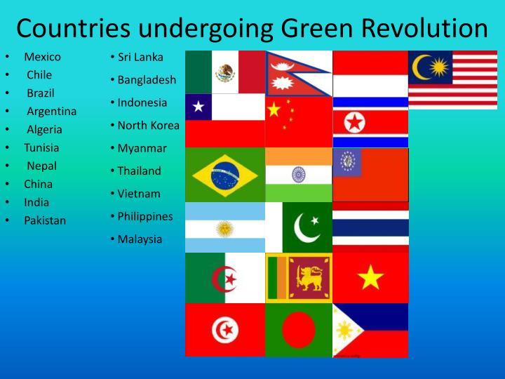 Countries undergoing green revolution