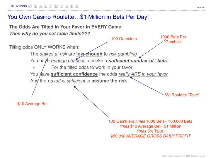 You Own Casino Roulette…$1 Million in Bets Per Day!